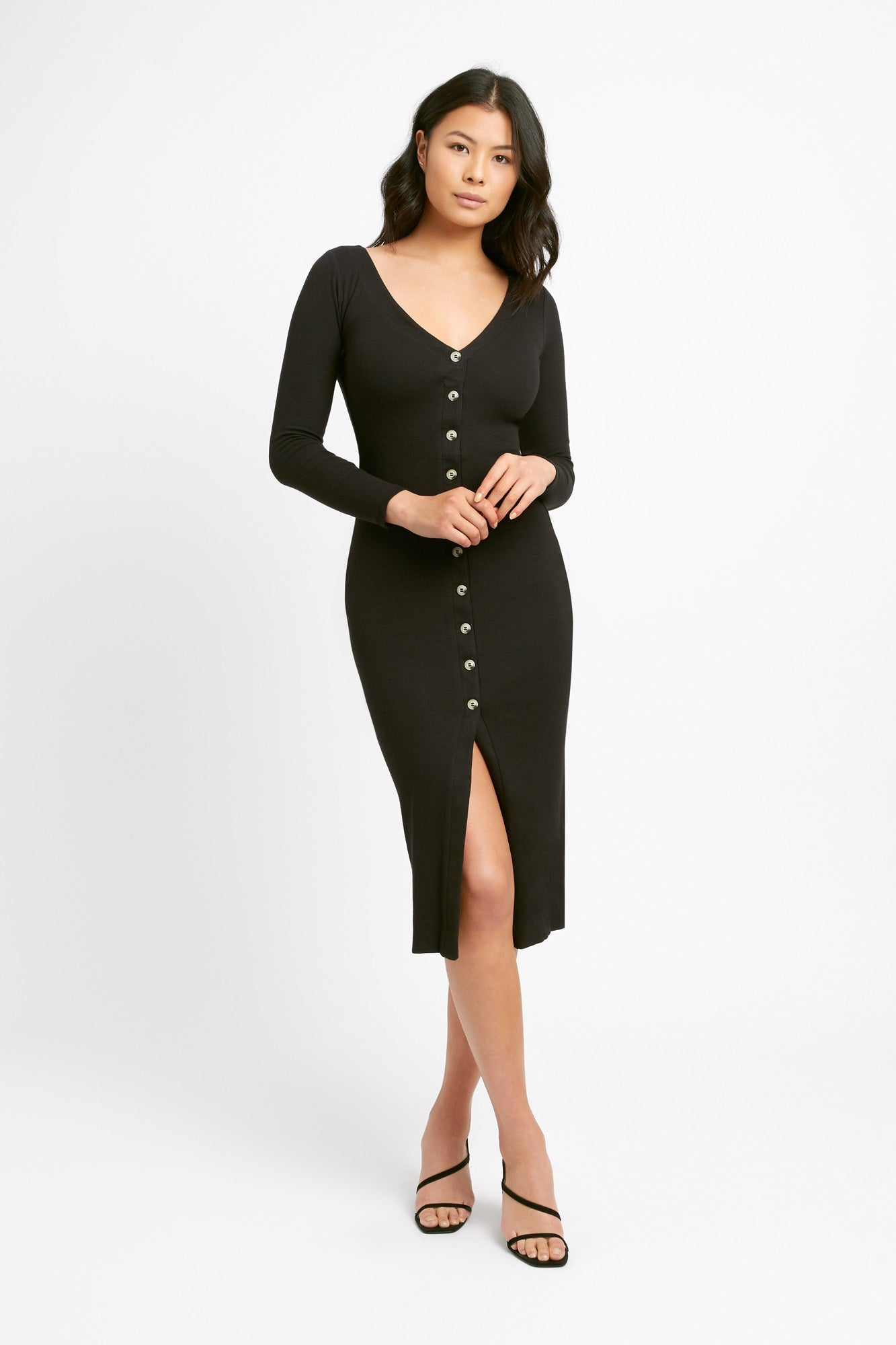 Beccy Button Long Sleeve Dress