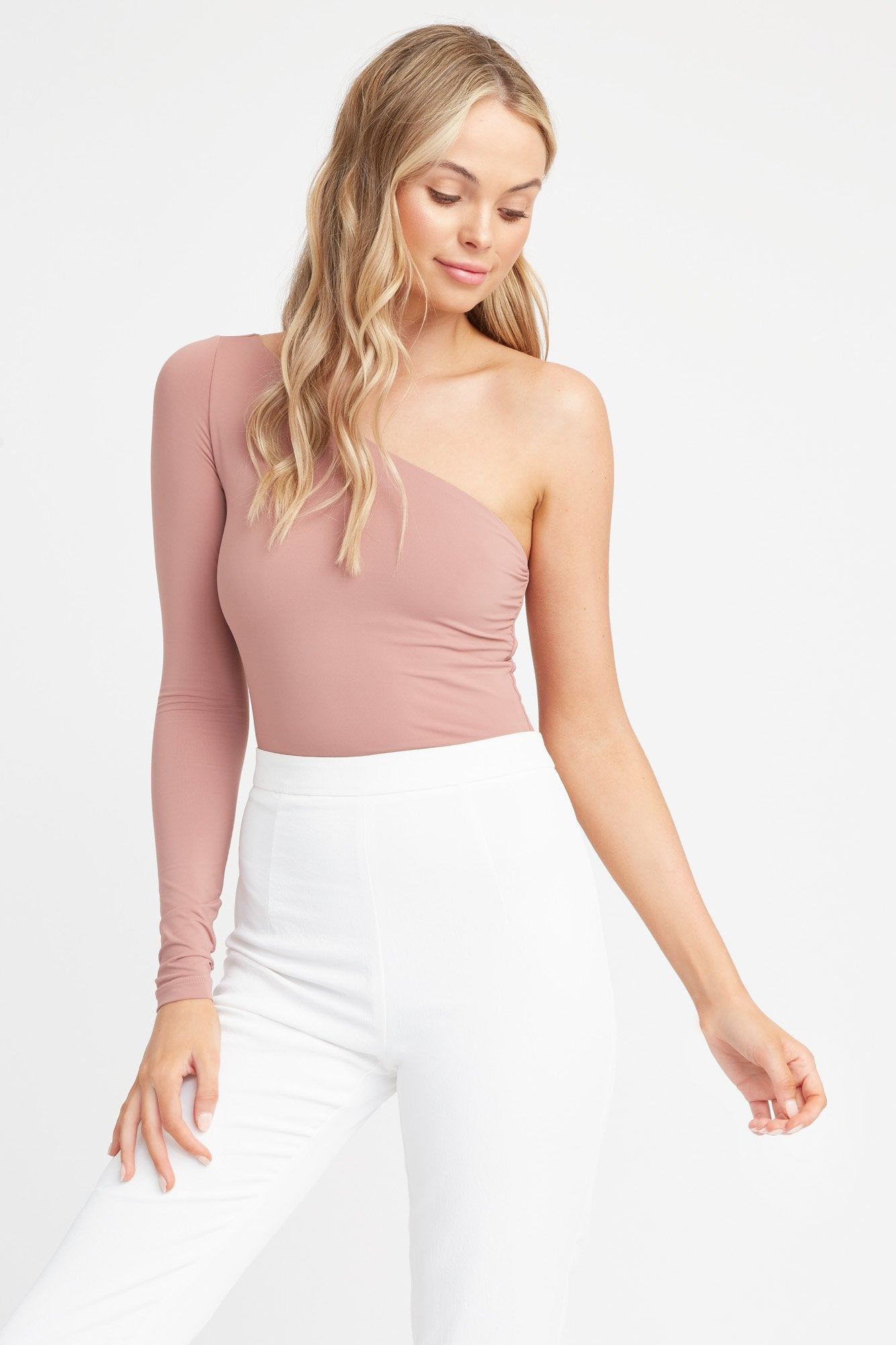 One Shoulder Long Sleeve Bodysuit