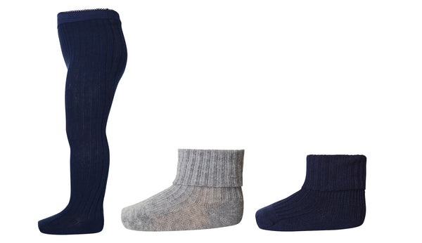 MP Denmark Tights & Socks Box Set in Navy - Avery Row