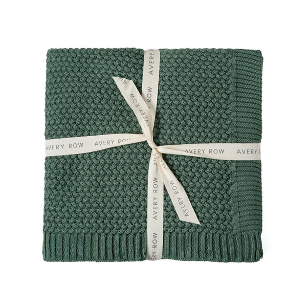 pine green cotton blanket gift