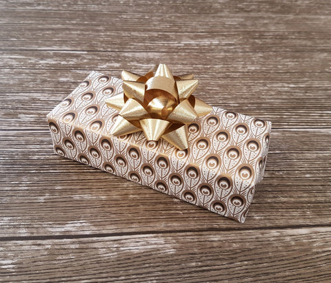 Peacock Feather Wrapping Paper Gold and Cream