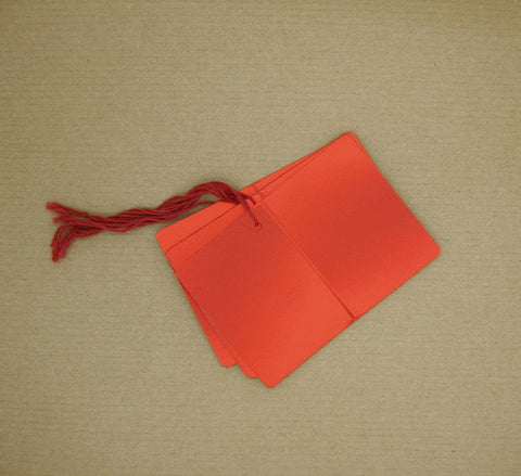 Folded & Strung Gift Tags Matte Metallic Red
