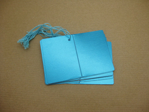 Folded & Strung Gift Tags Matte Metallic Turquoise