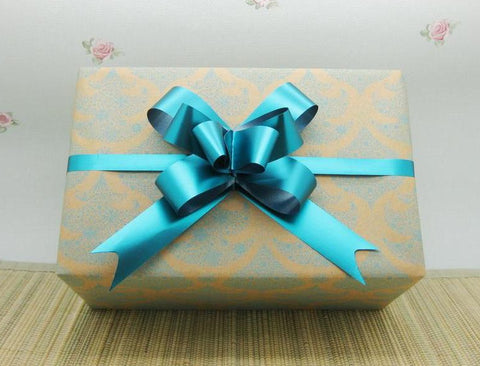 Recycled Delicate Christmas Tree Gift Wrap Natural & Turquoise