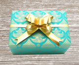 Delicate Christmas Tree Gift Wrap Turquoise & Gold Reversible
