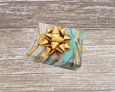 Aqua Teal Gold Marbled Wrapping Paper Sheets