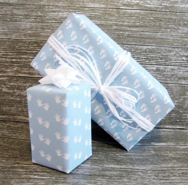 Baby Boy Blue Wrapping Paper Gender Reveal Gift Wrap Luxury Baby Gift Giftwrapit