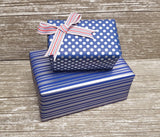Reversible Cute Polka Dot and Stripe Blue-Silver Gift Wrap