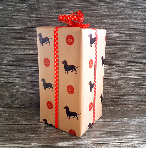 Dachshund 'Weiner Dog' Christmas Kraft Wrapping Paper - Giftwrapit