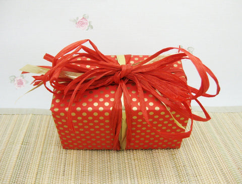 Double-sided Red and Gold Dot Stripe Wrapping Paper