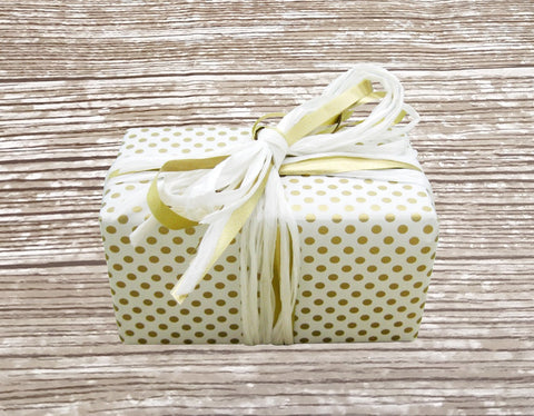 Reversible Cute Polka Dot and Stripe White-Gold Gift Wrap