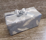 Feather Print Grey Wrapping Paper