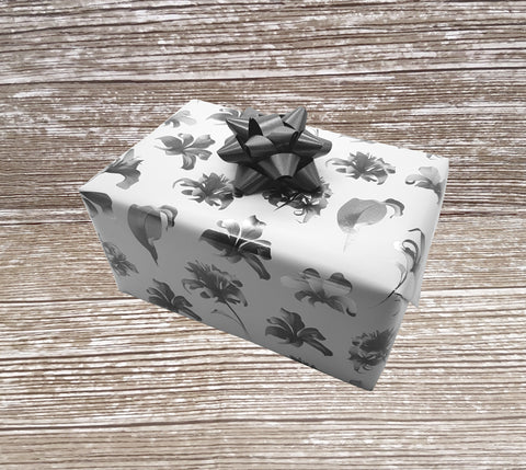 Grey and White Bold Floral Wrapping Paper