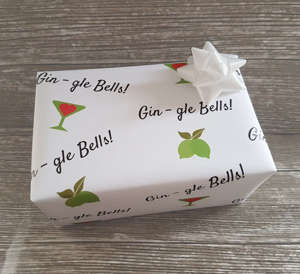 Gin Themed Christmas Wrapping Paper Xmas Gift Gin Lover