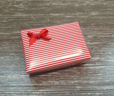 Glossy Red and White Stripe Nautical Wrapping Paper