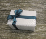 Heart Print Silvery White Metallic Gift Wrap