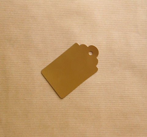 Scalloped Luggage Tag Matte Metallic Gold