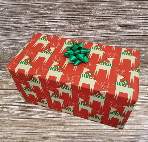 Red Reindeer Xmas Wrapping Paper