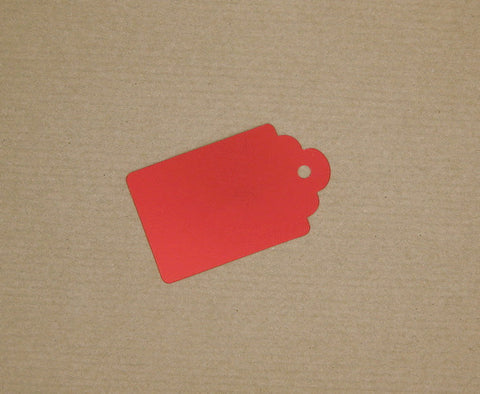 Luggage Tag Style Matte Metallic Red with coordinating tie