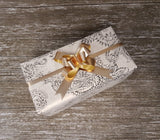 Wedding Gift Wrap Gold Delicate Muslin & Paisley Print - Giftwrapit