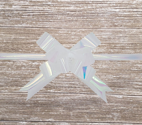 Pop-up Gift Bow Pearly Iridescent White