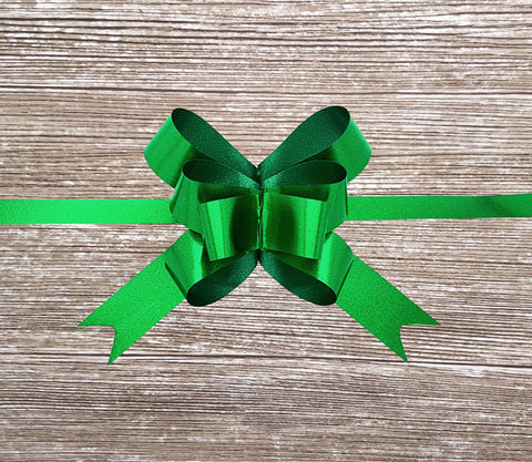 Matte Green Metallic Pull Bow-Bright Green Gift Bows