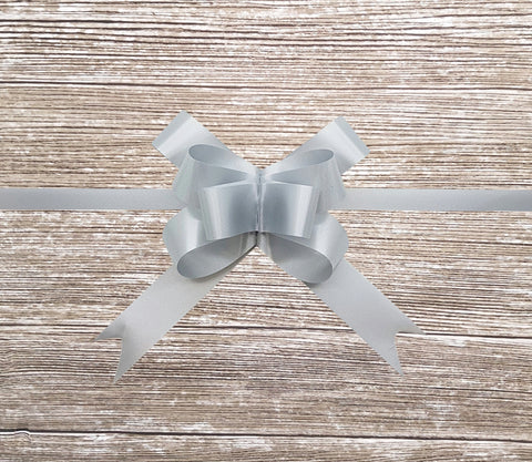 Grey Gift Bow-Pale Grey Pull Bow