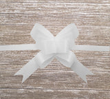 White Gift Bow -White Pull Bow for Hampers