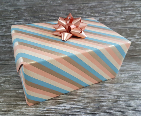 Peach Duck Egg Diagonal Stripe Wrapping Paper