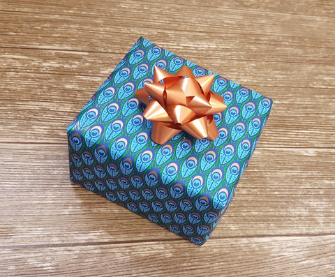 Peacock Feather Wrapping Paper-Bright Blue Gift Wrap