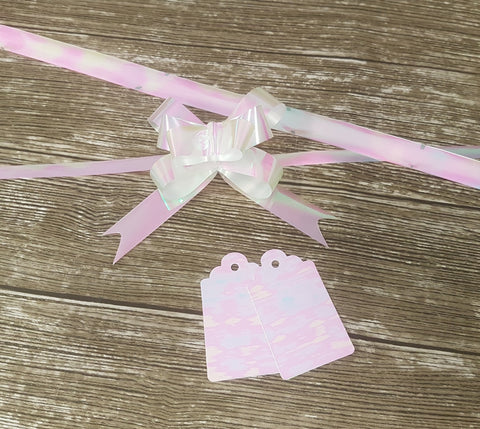 Pearly Pink Iridescent Gift Bows and Tags