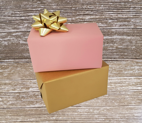Reversible Pastel Pink and Gold Matte Kraft Paper - Giftwrapit