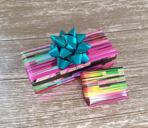 Pink Ombre Rainbow Striped Wrapping Paper Roll