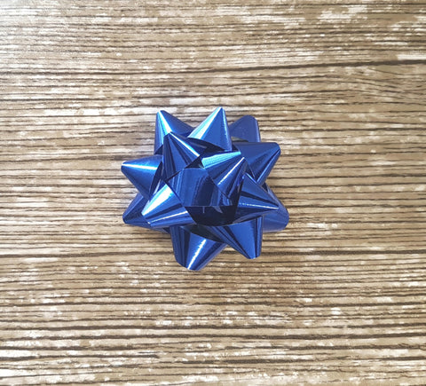 Royal Blue Gift Bow-Shiny Blue Star Bow-Xmas Bow Blue
