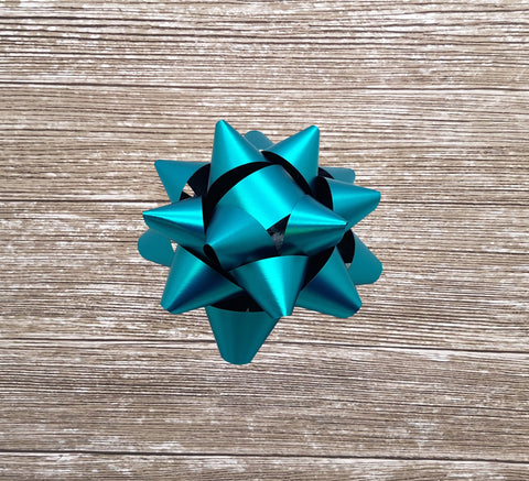 Turquoise Star Bows-Teal Gift Bows-Vibrant Self adhesive Bows