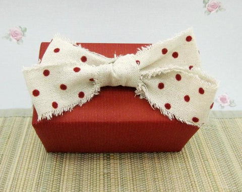 Natural Linen and Red Velvet Polka Dot Shabby Chic Ribbon