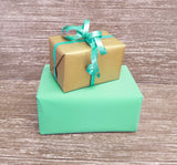 Teal Gift Wrap-Plain Teal and Gold Reversible Xmas Gift Wrap