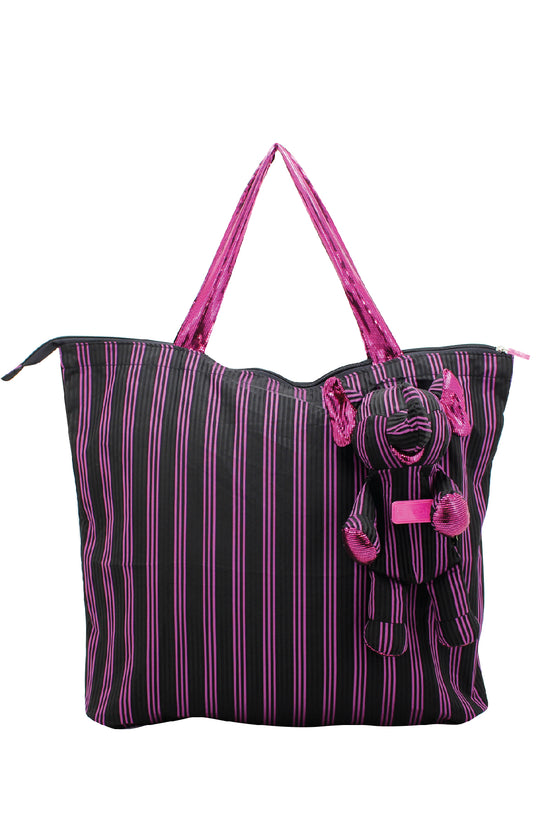 ELEPH FOLDABLE PLEAT 3 STRIPE - L : Black / Pink