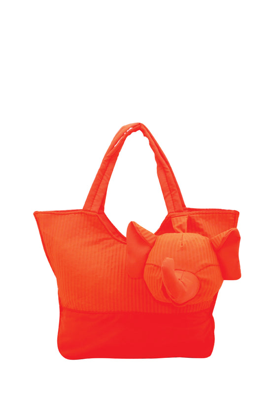ELEPH FOLDABLE PLEAT - TOTE S :  Orange / Orange
