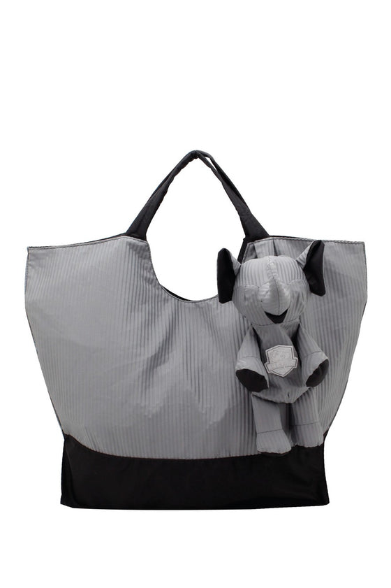 ELEPH FOLDABLE PLEAT - TOTE L :  Grey