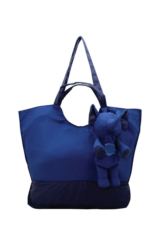 ELEPH FOLDABLE PLEAT - TOTE L :  Navy