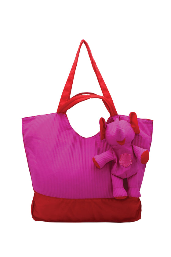 ELEPH FOLDABLE PLEAT - TOTE L :  Pink