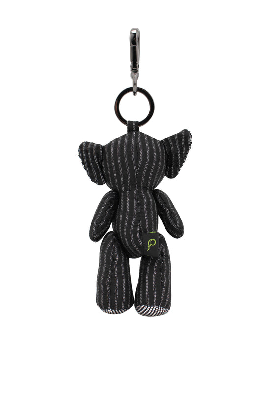 ELEPH PLEAT LUREX DOLL KEY RING : SILVER / BLACK