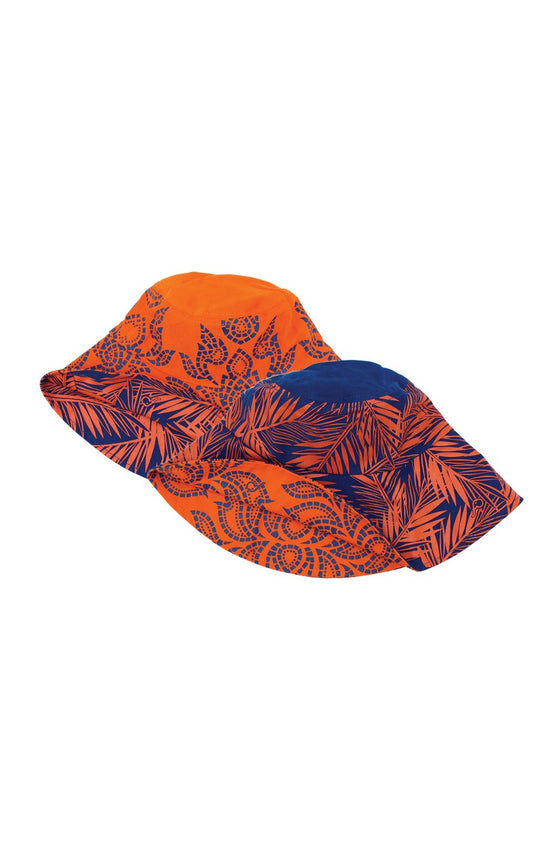 ELEPH CHALU/COCO REVERSIBLE HAT : Orange/Blue