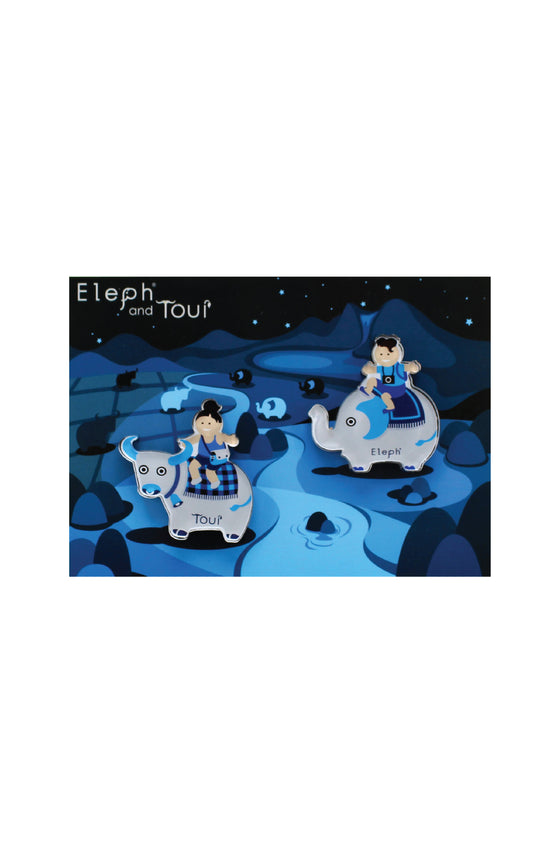 ELEPH POSTCARD WITH MAGNETS : Blue