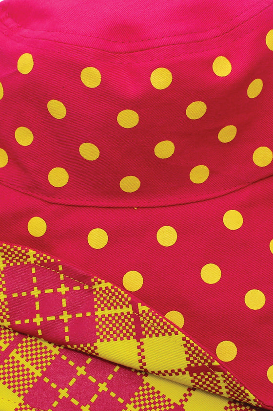 TOUI KAOMA/DOT REVERSIBLE HAT : Pink/Yellow