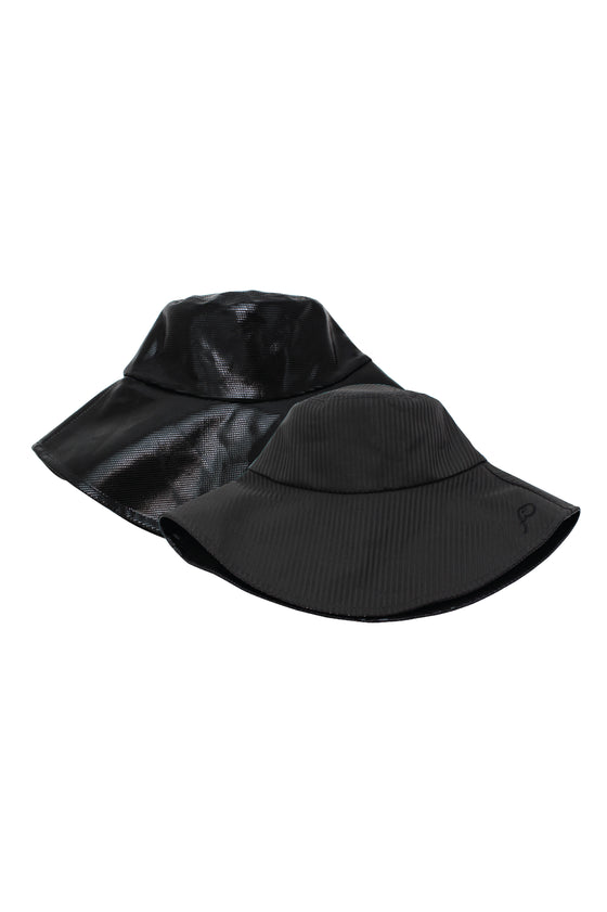 ELEPH PLEAT/DISCO REVERSIBLE HAT : Black