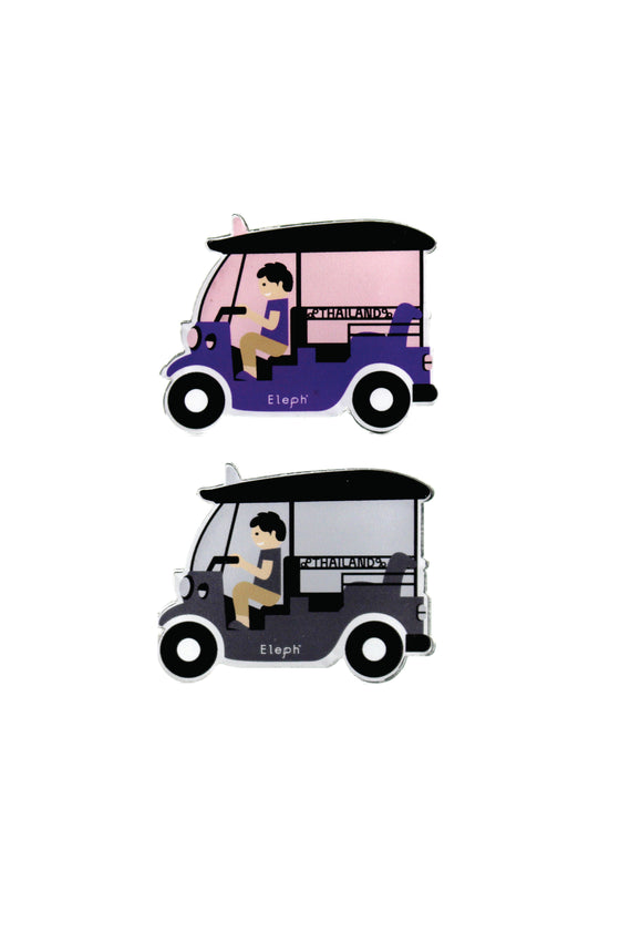 TUK TUK POSTCARD WITH MAGNETS : Pink / Purple