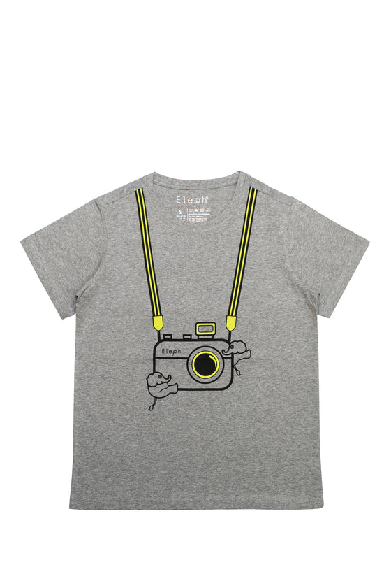 ELEPH T-SHIRT CAMERA : Grey / Lime
