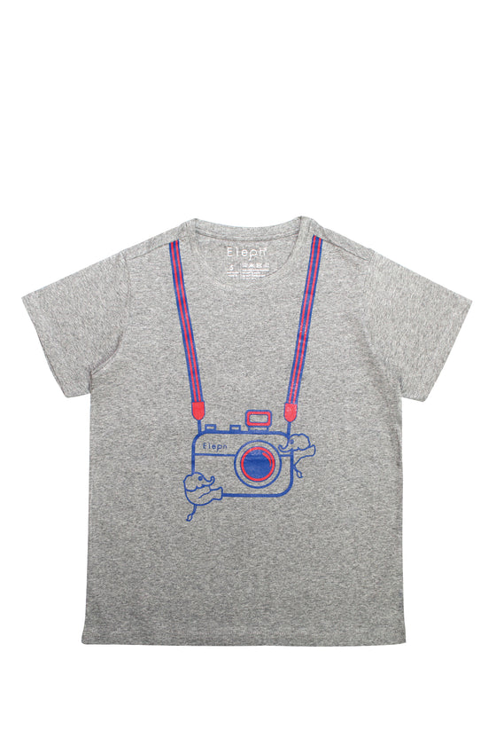 ELEPH T-SHIRT CAMERA : Grey / Blue